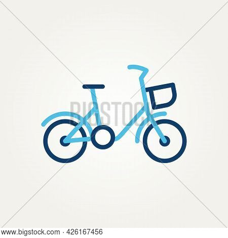 Simple Modern Isolated Bicycle Minimalist Line Art Icon Logo Template Vector Illustration Design