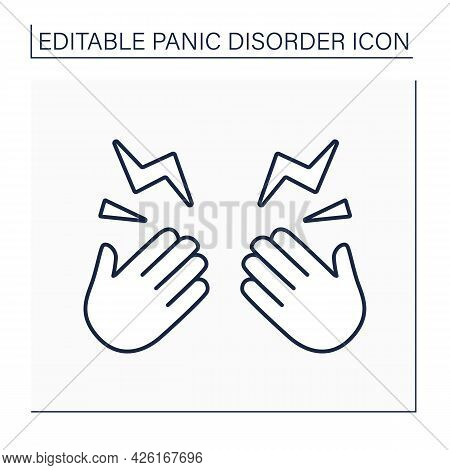 Tingling Sensation Line Icon. Feeling Tingling Hands, Feet, Arms And Legs. Numbness, Or Decrease In
