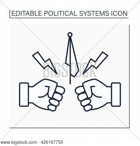 Opposition Line Icon.organized Politician Groups Opposed To Government.fight Between Politician Part