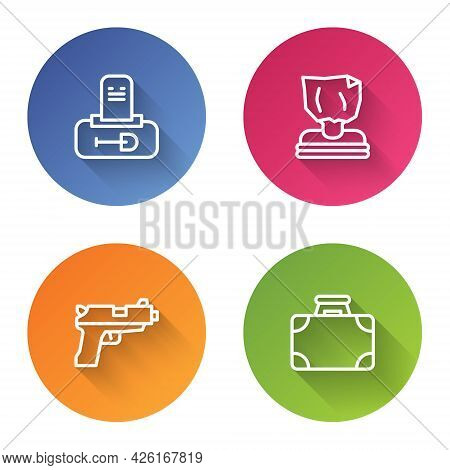 Set Line Grave With Tombstone, Kidnaping, Pistol Or Gun And Briefcase And Money. Color Circle Button