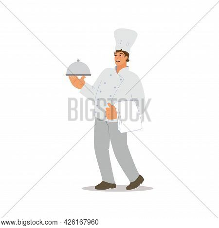 Chef With A Plate And A Towel. A Cheerful Cook Takes Out The Food. Vector Flat Illustration.