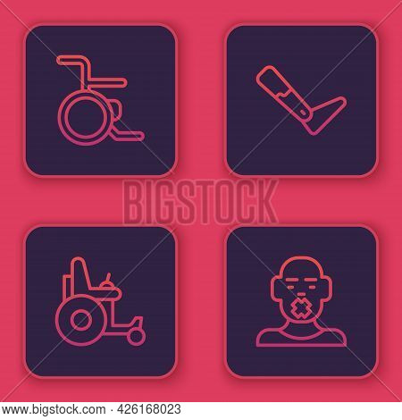 Set Line Wheelchair, Electric Wheelchair, Prosthesis Leg And Head Of Deaf And Dumb. Blue Square Butt