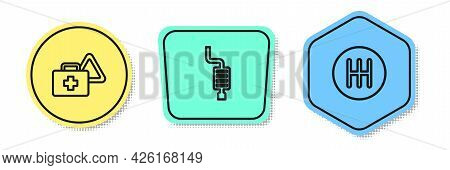 Set Line First Aid Kit And Warning Triangle, Car Muffler And Gear Shifter. Colored Shapes. Vector