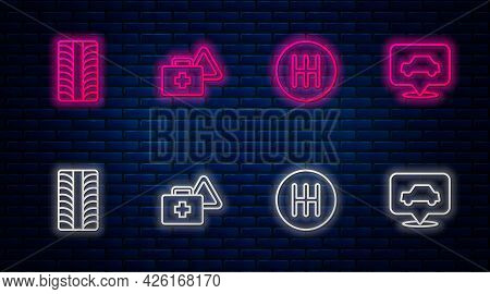 Set Line First Aid Kit And Warning Triangle, Gear Shifter, Car Tire Wheel And Service. Glowing Neon