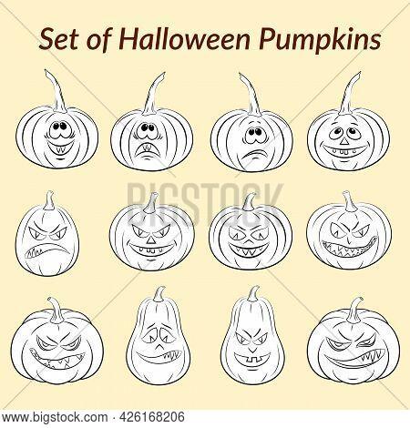 Holiday Halloween Symbols, Cartoons Pumpkins Jack O Lantern Set, Black Contours. Vector