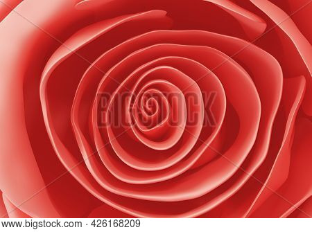 Beautiful Red Rose Close Up Background, 3d Render