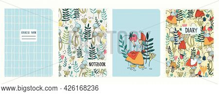 Cover Page Templates With Female Gnomes, Elf Girls Picking Berries, Mushrooms, Flowers. Headers Isol