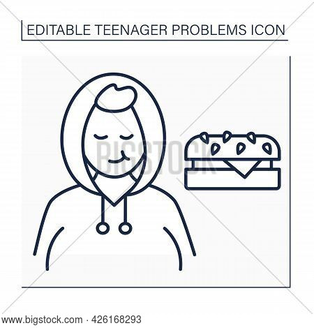 Obesity Line Icon. Overweight. Obeseness Due Stress, Depression, Anxiety And Emotional Issues. Teena