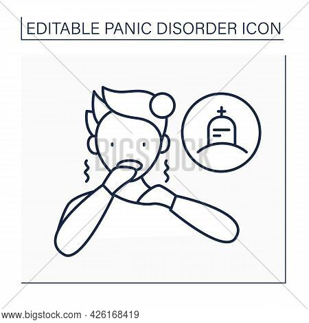 Dying Fear Line Icon. Thanatophobia. Trembling And Scared Feelings Due To Thoughts About Death.panic