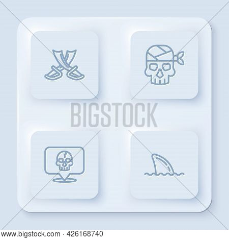 Set Line Crossed Pirate Swords, Pirate Captain, Skull And Shark Fin Ocean Wave. White Square Button.