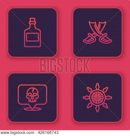 Set Line Alcohol Drink Rum, Skull, Crossed Pirate Swords And Ship Steering Wheel. Blue Square Button