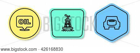 Set Line Word Oil, Oil Rig And Spare Wheel In The Car. Colored Shapes. Vector
