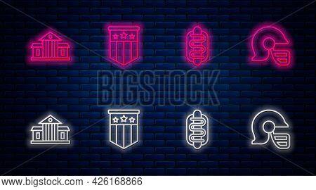 Set Line American Flag, Hotdog Sandwich, White House And Football Helmet. Glowing Neon Icon On Brick