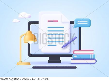 Homework Assignment. Concept Of E-learning, Online Education, Home Schooling, Web Courses, Tutorials