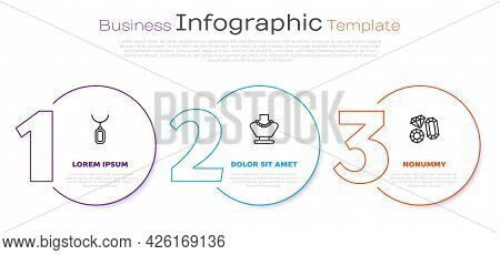 Set Line Pendant On Necklace, Necklace Mannequin And Gem Stone. Business Infographic Template. Vecto