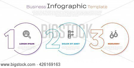 Set Line Diamond Engagement Ring, Calliper Or Caliper And Scale And Earrings. Business Infographic T