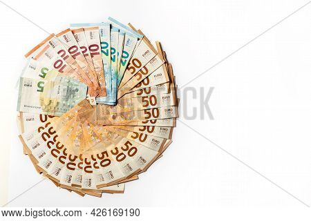 Money. Cash. Euro Bills On The Table. The Salary. Poverty And Wealth Concept. Money Savings. Poor, R