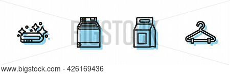 Set Line Laundry Detergent, Towel Stack, Washer And Hanger Wardrobe Icon. Vector