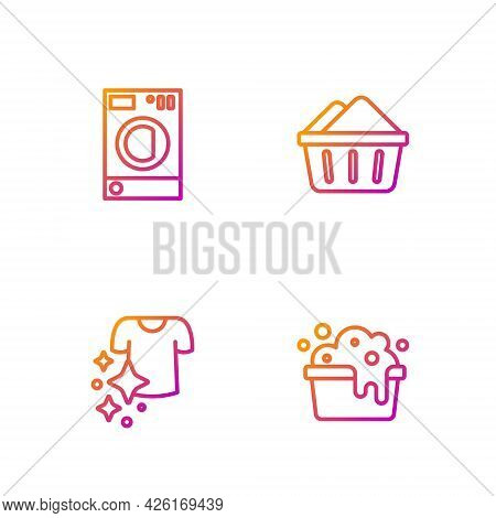 Set Line Basin With Soap Suds, Drying Clothes, Washer And . Gradient Color Icons. Vector