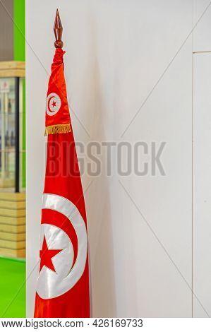 Luxury Silk Turkish Flag Crescent Star At Spear Pole Inside