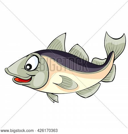 Cute Cod Fish, Cartoon Illustration, Isolated Object On White Background, Vector, Eps