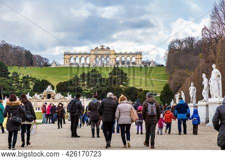 Vienna, Austria - 6 April 2015 - Tourists Visit The Famous Schönbrunn Palace In Vienna, Austria On A