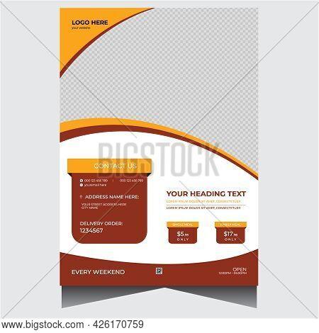 Creative Orange Promotional Restaurant Flyer Design Template