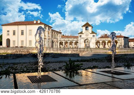 Venaria Reale,piedmont,italy. June 2021. Stunning View Of The Clock Tower Which Is The Entrance To T