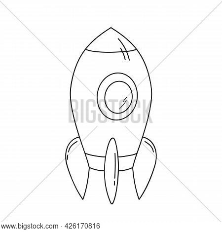 Spaceship Flying. Coloring Book. Childrens Vector Line Illustration Isolated On White, Childrens Col