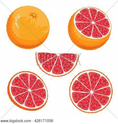 Set Of Parts Of A Red Orange. Whole, Half, Slice And Slice Of Sicilian Orange Isolated On White Back