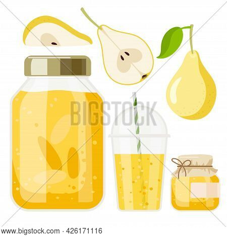 Pear Desserts. Compote And Jam In Jars, Drink In Glass, Pear Pieces. Canned Fruit. Fruit Conservatio