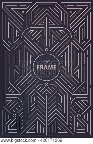 Vector Abstract Geometric Art Deco Frame, Border, Background. Linear Trendy Style. Monogram Art Deco