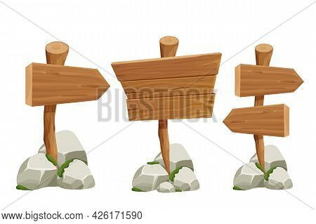 Set Wooden Pointer, Signboards With Rock Pile And Moss In Cartoon Style Isolated On White Background