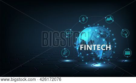 Financial Technology And Business World Class.icon Fintech And Things On Dark Blue Technology Backgr