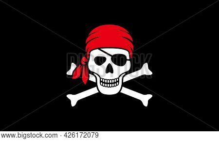 Symbol Jolly Roger. Pirate Flag With White Skull And Bones Isolated On Black Background. Vector Illu