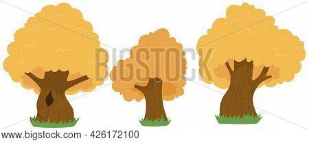 Set Of Oak Trees In Cartoon Style