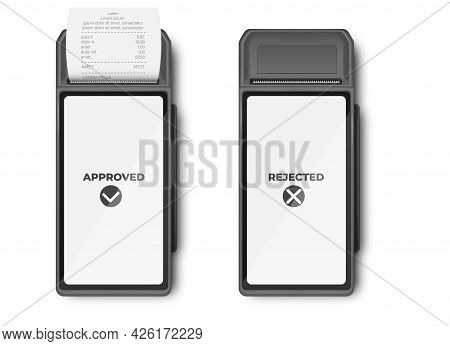 Payment By Card, Mockup Template Of Bank Payment Terminal. With Receipt Closeup Isolated. A Purchase