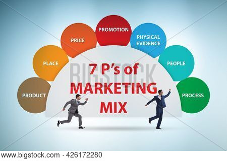 Businessman in the concept of 7ps of marketing mix