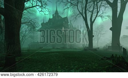 Old Haunted Abandoned Mansion In Creepy Night Forest With Cold Fog Atmosphere, 3d Rendering