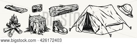 Camping Vintage Elements Composition With Tent Bonfire Safari Hat Male Boot Photo Camera Wooden Stum