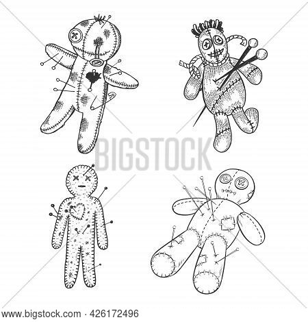 Voodoo Doll Set Line Art Sketch Engraving Vector Illustration. T-shirt Apparel Print Design. Scratch