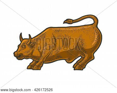 Wall Street Bull Statue Color Line Art Sketch Engraving Vector Illustration. T-shirt Apparel Print D