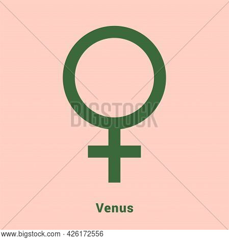 Venus. Planet Symbol. Vector Color Sign. Astrological Calendar. Hinduism, Indian Or Vedic Astrology