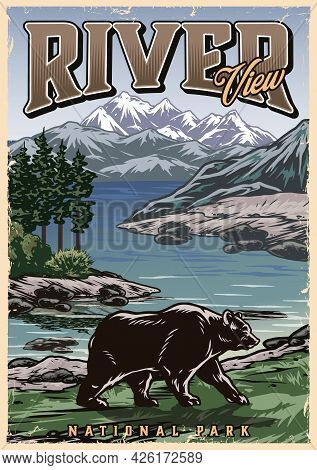 National Park Vintage Colorful Poster With Bear Walking On River Coast On Beautiful Nature Landscape
