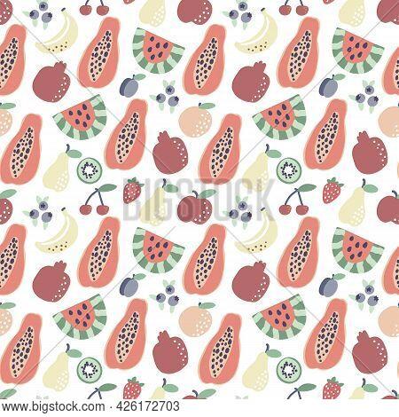 Fruit Pattern. Papaya Banana Watermelon Seamless Pattern. Summer Tropical Print For T Shirt Design