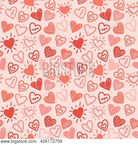 Hearts Seamless Pattern. Love Red Pink Hand Drawn Background.