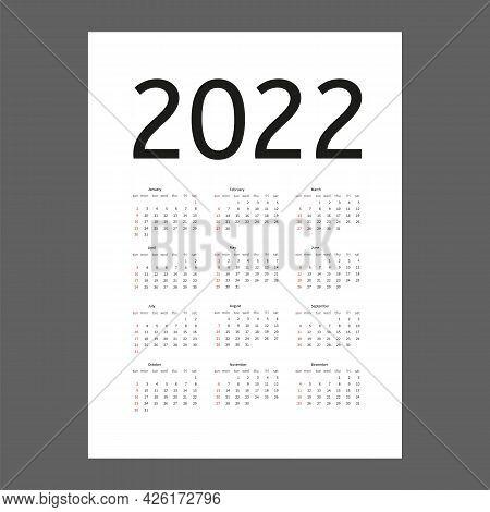 Calendar 2022 Year. Week Starts On Sunday. Calender