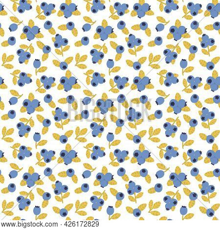 Blueberry Seamless Pattern. Blue Berry Summer Print. Hand Drawn Food Fabric Print