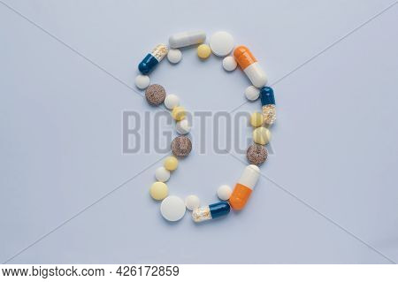 Medicine Pills Tablets Capsules In Shape Of Human Kidney, Pills Have A Bad Effect On The Kidneys, Ki