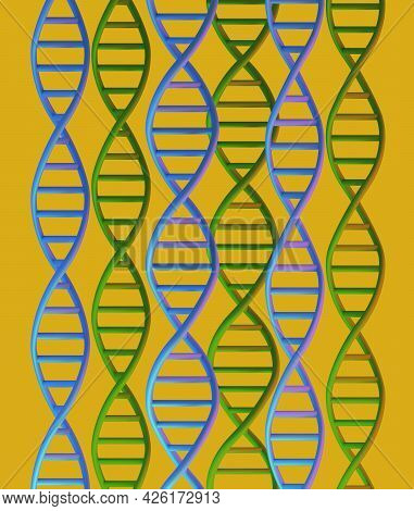 Dna Molecules Structure On Yellow Background, 3d Render